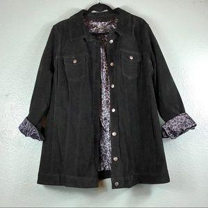 Vintage Retro Washable Black Suede Jacket Woman 2X